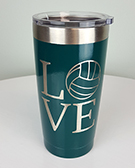 Powder Coated Drink Tumbler: Theme: Love Volleyball